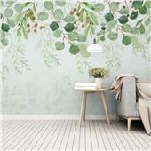 绿叶成荫--北欧简约小清新客厅壁纸抽象艺术电视客厅背景墙布