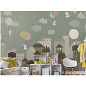 滑翔的小兔-卡通手绘卧室小孩房壁画