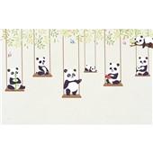 卡通熊猫-卡通手绘卧室小孩房壁画