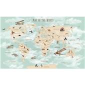 世界地图-儿童房间壁纸男孩卧室背景墙纸壁画温馨卡通环保墙布