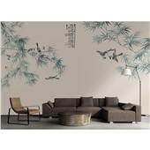 比翼双飞--新中式花鸟画墙布定制壁画客厅电视背景墙沙发影视墙布