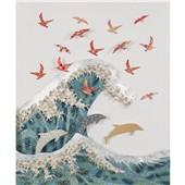 巨浪海豚与鸟--新中式现代墙布3D墙布壁画电视沙发书房背景墙画