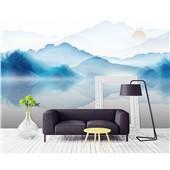 山水间--新中式禅意水墨山水电视背景墙墙布写意沙发客厅墙布壁画