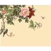 繁枝纳雀新中式花鸟画墙布定制壁画客厅电视背景墙沙发影视墙布