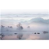 山水云雾--新中式禅意水墨山水电视背景墙墙布写意沙发客厅墙布