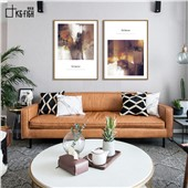 缩影 快乐鱼美式抽象装饰画双联画客厅餐厅卧室玄关色彩温暖舒缓放松