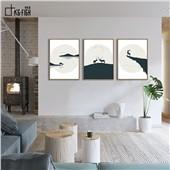 眺望 快乐鱼现在北欧简约不简单装饰画三联画客厅餐厅办公室减压放松