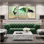生命之舞 快乐鱼现代简约时尚装饰画三联画客厅会客室餐厅装饰画