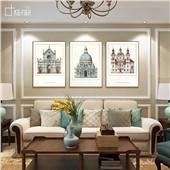 欧美建筑 欧式美式经典装饰画哥特建筑沙发背景墙高端场景装饰