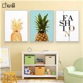 菠萝一族-快乐鱼现代装饰画客厅餐厅卧室玄关色彩温暖舒缓