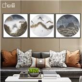 迁徙-快乐鱼新中式抽象山水客厅沙发背景餐厅墙面装饰画