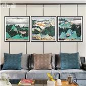 山川丽景-快乐鱼新中式客厅沙发背景餐厅墙面装饰画