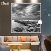 单色调-快乐鱼现代简约北欧黑白风景客厅餐厅卧室装饰画