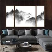 抽象水墨多联画 客厅现代经典装饰艺术画水墨抽象多联新中式风格