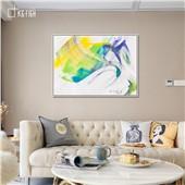氤氲缭绕-快乐鱼现代简约装饰画客厅餐厅卧室玄关色彩温暖舒缓