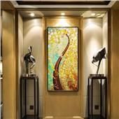 發財樹 招財進寶 歐式玄關畫寓意美好風格時尚裝飾性強過道背景畫
