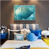 飞翔的鱼现代简约插画可爱儿童房卧室客厅玄关装饰画萌萌的治愈系