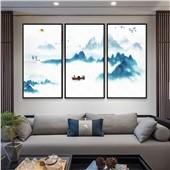 水墨山水--快乐鱼现代简约新中式客厅沙发背景餐厅墙面装饰画