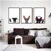 汪星人--快乐鱼现代北欧卡通客厅沙发背景餐厅墙面装饰画