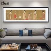簪花仕女图--客厅现代新中式经典装饰画中式挂画