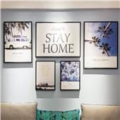 尚白空间--现代北欧简约客厅沙发卧室背景墙色彩温馨舒缓减压装饰画