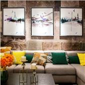 黑白時尚--現代北歐簡約客廳沙發臥室背景墻色彩溫馨舒緩減壓裝飾畫